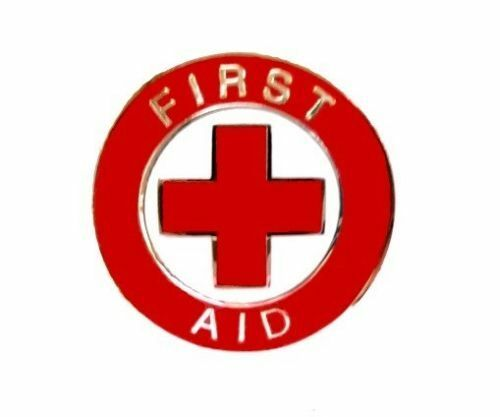 First Aid Red Cross Lapel Collar Pin Device Silver Trim Metal Back