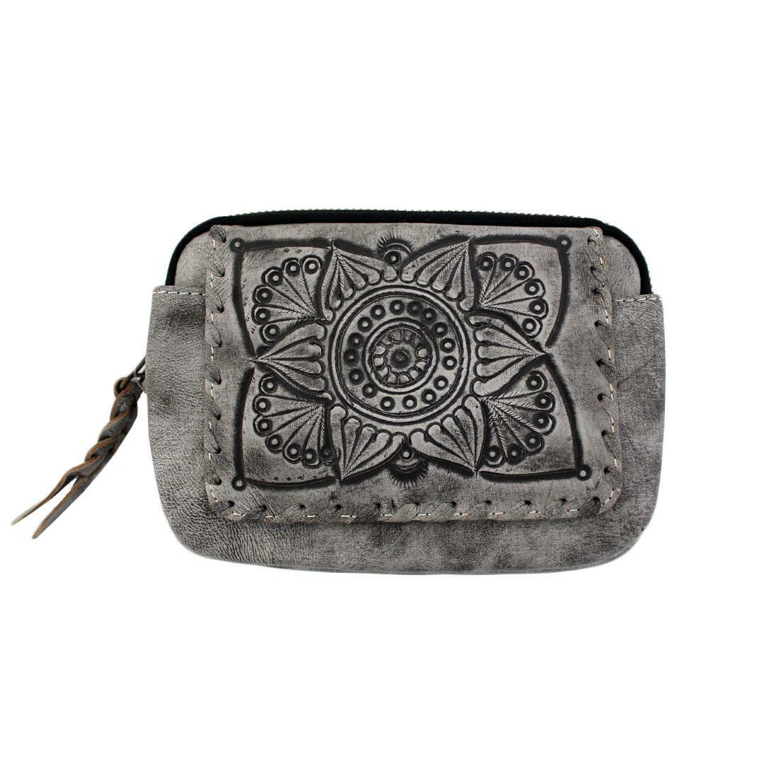 Leaders in Leather Hand Made Womens Boho Zip Around Wallet with Mandala Design