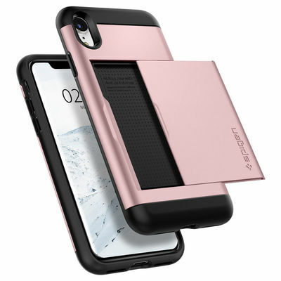 iPhone XR | Spigen® [Slim Armor CS] Card Slot Wallet Dual Shockproof Case Cover