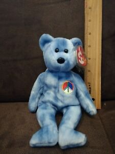 38a65f28998 TY Beanie Baby - PEACE the Blue Bear - Mint with Tags - RETIRED