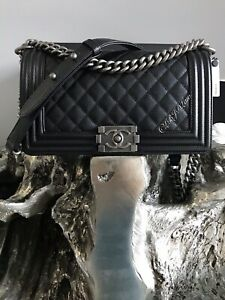 c4b8686ad192c5 NWT CHANEL Black Caviar Boy Bag Ruthenium 2019 Old Medium Crossbody ...