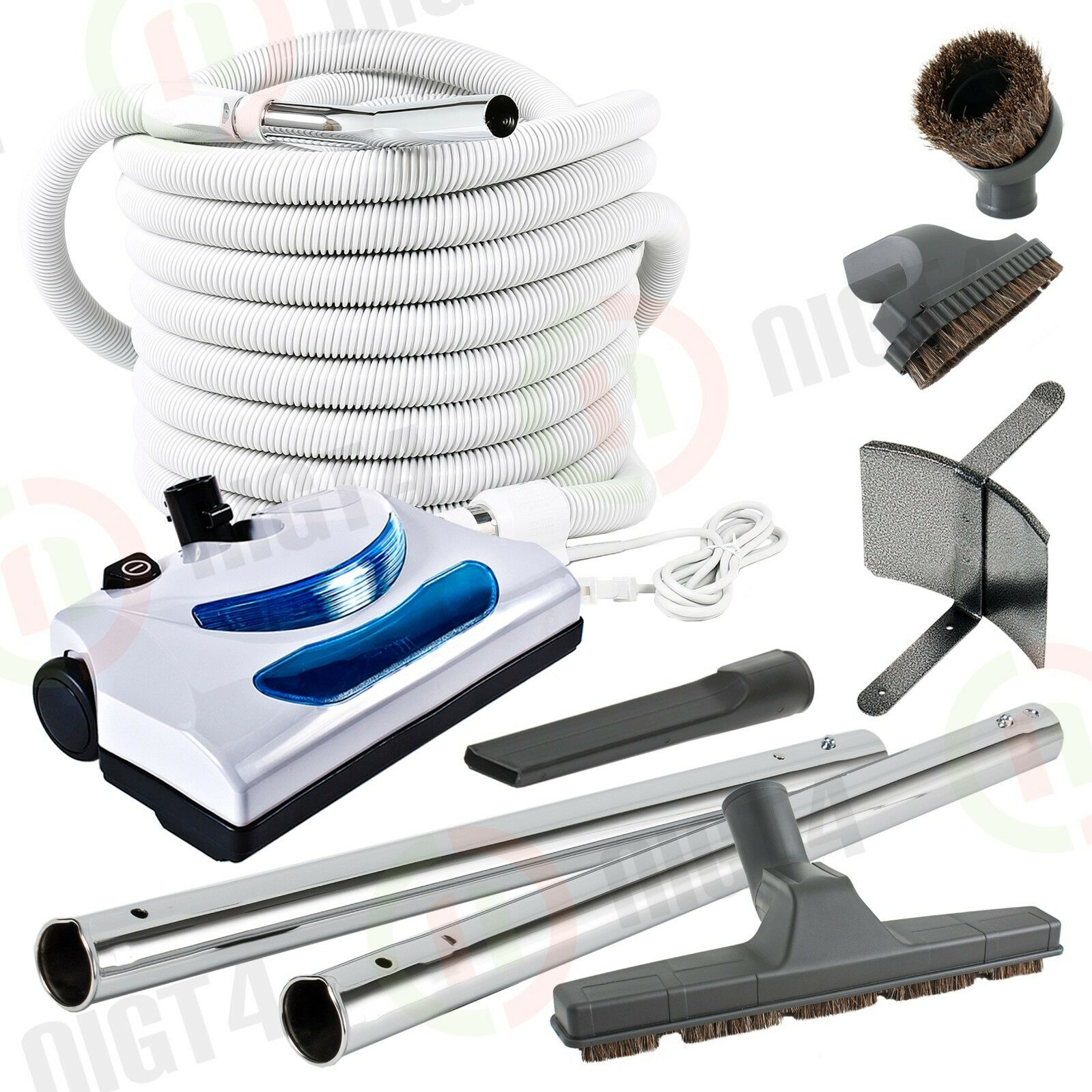 Electric Central Vacuum Powerhead 30'Pigtail Hose & Atachment Vac Kit-LONG LIFE