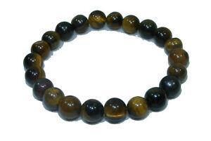 Bracelet de perles OEIL DE TIGRE Pierres naturelles 8 mm 18cm ou sur mesure