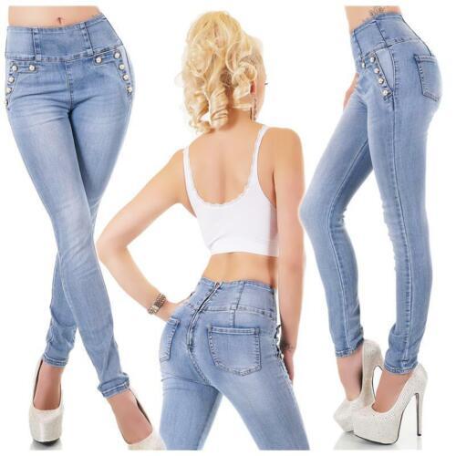 Skinny Damen High Waist Röhrenjeans mit Zipper hinten Blau #H1810