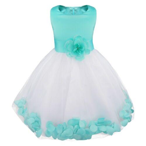 UK Petals Lace Baby Princess Bridesmaid Flower Girl Dresses Wedding Formal Party