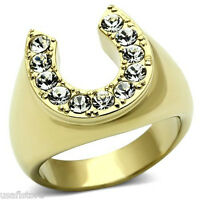 Horse Shoe Lucky Crystal Stones Gold Ep 316ss Mens Ring