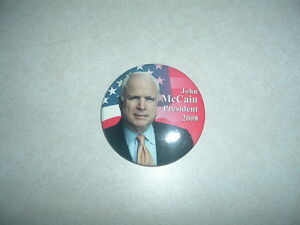 """2008 McCain President 2 1//4/"""" round Button Pin Official"""