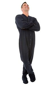 Big Feet Pjs - Navy Blue Fleece Adult Footed Pajamas