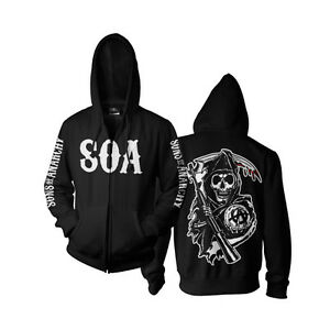Black xxl Soa Of Licensed Hoodie Officially S Sizes Reaper Sons Anarchy Zipped Izq7WwaPW