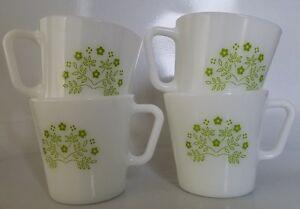 "4 CORNING PYREX COFFEE / TEA MUG - HONEYDEW GREEN SUMMER IMPRESSIONS - 3 1/2"" TA"