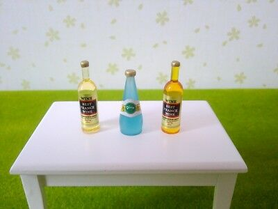 3 Miniature Wine Whisky Bottles Kitchen Drink 1:12 Dollhouse Pub Bar Accessory