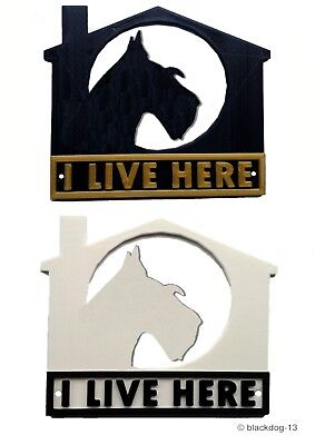 House Garden Gate Door Sign English Bull Terrier I Live Here 3D Dog Plaque