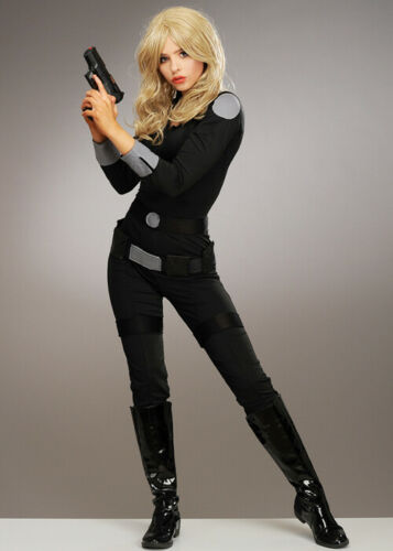 Womens Charlies Angels Style Black Catsuit Costume
