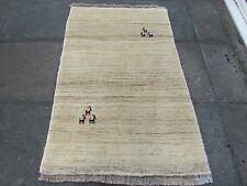 Old Hand Made Traditional Persian Rugs Oriental Cream Wool Gabbeh Rug 150x97cm