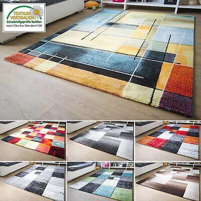 Designer Teppich Modern Modena Karo Muster Rot Orange Schwarz Braun Beige Neu