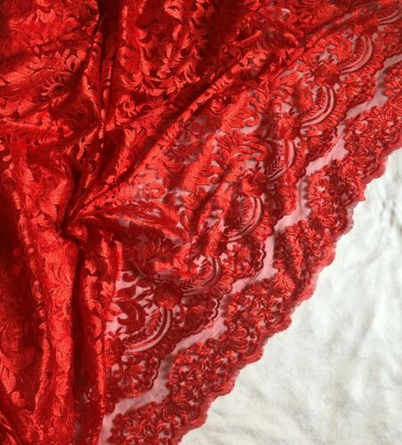 "Stunning Embroided Double Scalloped Bridal Lace Fabric Tulle Net 52/"" Wide Dress"