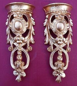 2 Metal ormolu corners pediments (#10) for fancy furniture. Mounts/decoration.