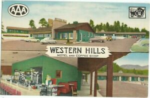 Flagstaff-AZ-Arizona-old-Postcard-Western-Hills-Motel-Route-66-Highway-66
