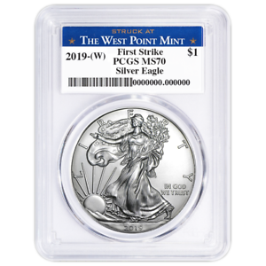 2019 W $1 American Silver Eagle PCGS MS70 First Strike West Point Label