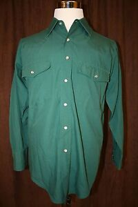 Outlaw-Western-Wear-Green-Pearl-Snap-Shirt-Cowboy-Rodeo-Long-Sleeves-Medium-M