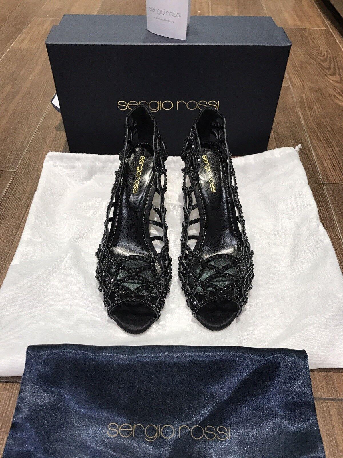 Hermosa 100% Auténtico Sergio Rossi recorte recorte recorte de cristal de Swarovski negro Tacones Talla 7.5  compra limitada