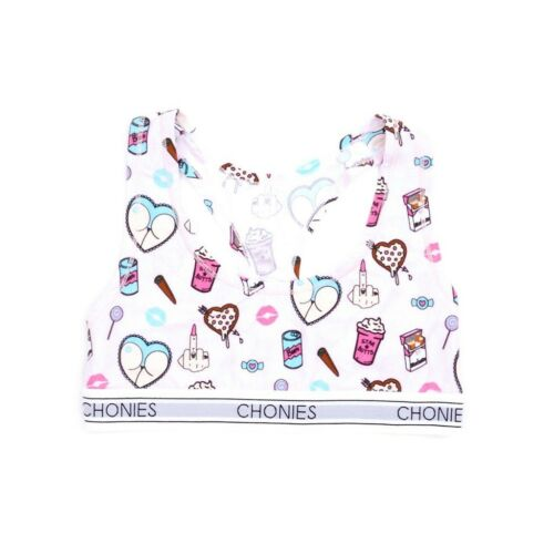 Chonies Women Vice Sports Bra Tee white pink