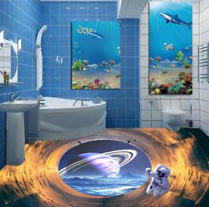 Astronauta de Tierra 53 3D Piso impresión de parojo de papel pintado mural 5D AJ Wallpaper Reino Unido Limón