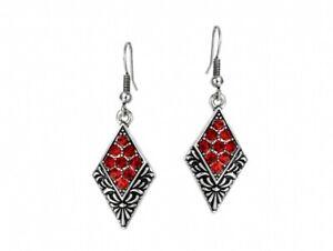 Art Deco Style Drop Earrings Glass Crystal Fashion Jewellery Accessories Red Ebay