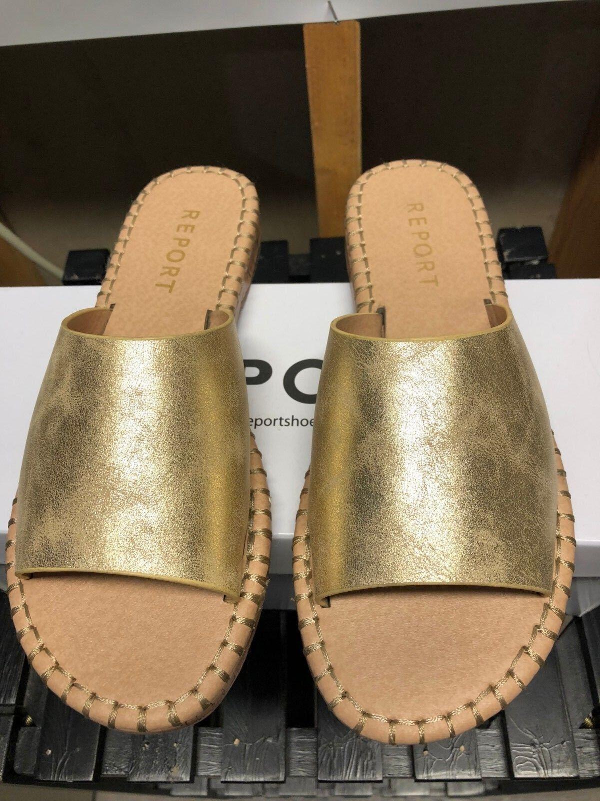 Report Womens Farrel Gold Open Toe Casual Slide Sandal Size box 7.5 ~ New in box Size cca3ce