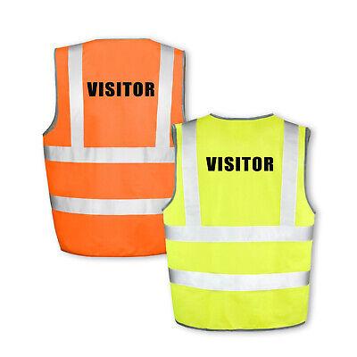 VISITOR Hi Vis Hi Viz High Visibility Reflective Safety Vest//Waistcoat