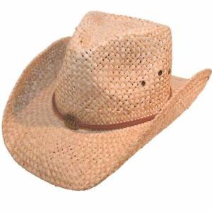 Unisex-Natural-Straw-Cowboy-Hat-Sun-Cap-Men-039-s-Women-039-s-Band-Ladies-Summer-Hawkins