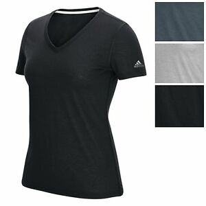 adidas Womens Ultimate V Tee Athletic Loose Fit V Neck T Shirt All Col Sizes