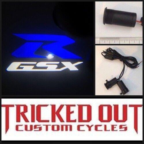 BLUE shines image onto ground BLUE GSXR Suzuki GSXR projection led light