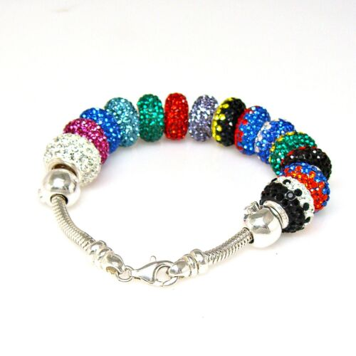925 Sterling Silver High Quality Crystal Spacer Beads European Charm Bracelet