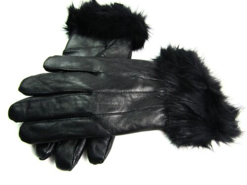 Ladies Womens Real Super Soft Leather Faux Fur Trim Fleece Lined Winter Gloves