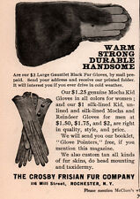 AD LOT OF EARLY 1900 'S ADS CROSBY FRISIAN FUR CO GLOVES BLACK DOG SKIN