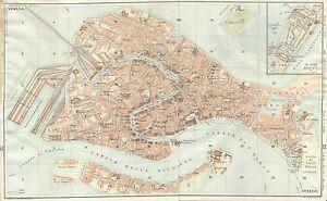 Cartina Geografica Venezia.Carta Geografica Antica Venezia Pianta Della Citta Tci 1920 Antique Map Venice Ebay
