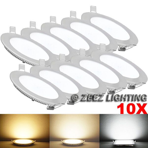 """10X 6W 4/"""" Round Natural White LED Dimmable Recessed Ceiling Panel Light Fixture"""