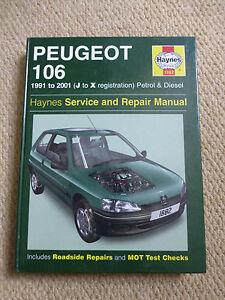 peugeot 106 haynes manual 1991 to 2001 j to x reg petrol diesel ebay rh ebay co uk Peugeot 202 New Peugeot 106