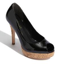 NIB COLE HAAN Air Mariela Black Patent/Cork Platform Peep-toe Pump Heel Size 7 B