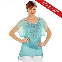 - One World Ombre Chiffon Sequined Neck & Printed Knit Tank Top