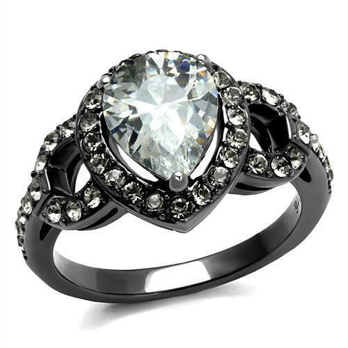 Brilliant 2.46ct Pear Cut Cubic Zircon CZ AAA Light Black IP Ring TK2655