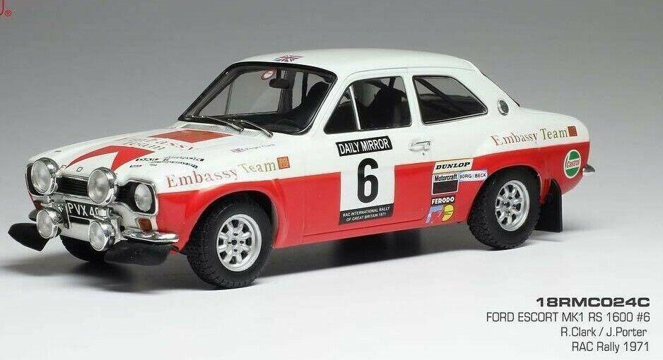 marcas de moda Ixo Ixo Ixo 1 18 Embajada Ford Escort Mki MK1 RS1600  6 Rac Rally 1971 R.clark    mejor servicio