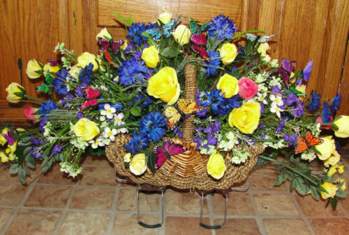 Colon Cancer Tribute Headstone Baskets Grave Cemetery Wildflowers Mini Roses