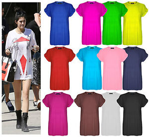 New-Womens-Plain-Tee-Oversized-Top-Ladies-Short-Turn-Up-Cap-Sleeve-Baggy-T-Shirt