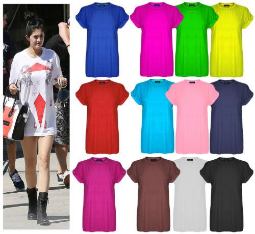 New Womens Plain Tee Oversized Top Ladies Short Turn Up Cap Sleeve Baggy T Shirt