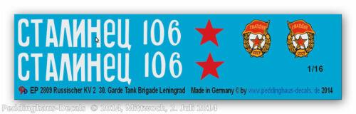 Garde Tank Brigade Leiningrad Peddinghaus 2809 1//16 Russischer KV 2 30