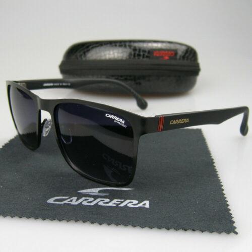 Men Women Retro Sunglasses Square Matte Black Frame Metal Carrera Glasses Box