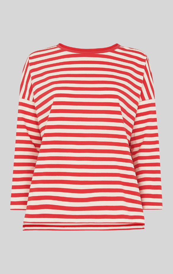 Whistles -- Multi Rouge-grand Stripe Tee-Boxy-neuf avec étiquette-Taille XS 8