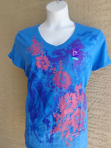0da93a1b72f NWT Just My Size Graphic V Neck Tee Shirt Blue with Horse   Glitzy ...